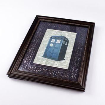 Tardis Dictionary Print, Doctor Who Wall Art, Faux Vintage Dictionary Page, Framed