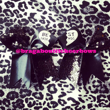 black sequins best friends cheer bows