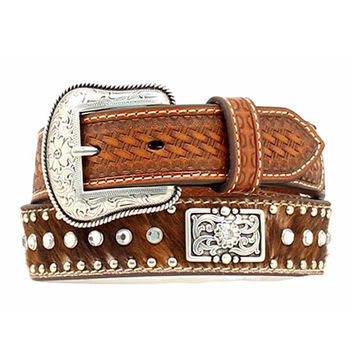 Nocona Western Boys Belt Kids Leather Hair Rhinestones Brown