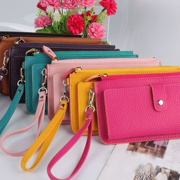 Sweet Women Fashion Candy Color Clutch Wallet with Zipper = 1958328516
