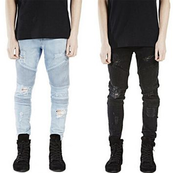 Runway Rider Mens Super Skinny Slim Fit Motorcycle Washed Vintage Ripped Washed Hip Hop Elastic Denim Pants Biker Jeans For Men