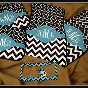 Gift Set Front and Back Personalized Car Mats + License Plate Frame + Key Chain
