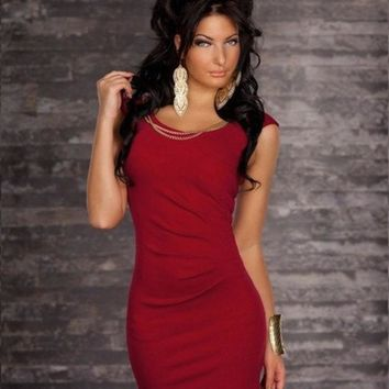 3 Colors M Xl Xxl Pretty Women Mini Dress With Chain Fashion Clubbing Wear Sexy Fancy Costume Black Red Blue  Mn82 = 1945716292