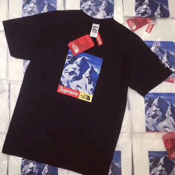 Supreme X The North Face Popular Unisex Casual Letter Print Round Collar T-Shirt Pullover Top Black I-CN-CFPFGYS