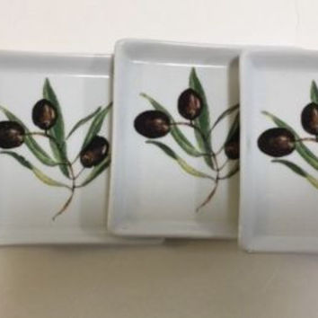 "Crate and Barrel 4 Ceramic Square Snack Olive Plates 4.5"" Olive Branch Pattern"