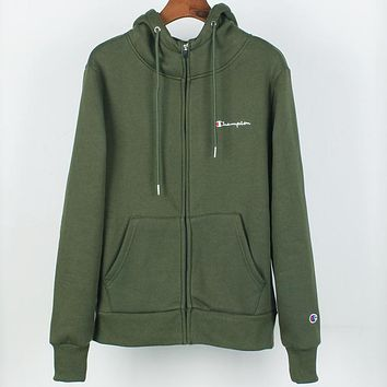 Champion autumn and winter plus velvet warm men and women sports and leisure jacket zipper hoodie Green
