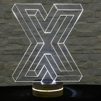 X Shape, 3D LED Lamp, Home Decor, Table Lamp, Office Decor, Plexiglass Lamp, Decorative Lamp, Nursery Light, Acrylic Night Light