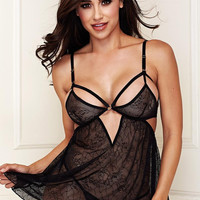 Black Lace Babydoll with G-String Set