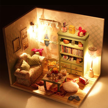 DIY Wood Dollhouse Sofa Miniature With LED+Furniture+cover Doll House Toys Gift For Children