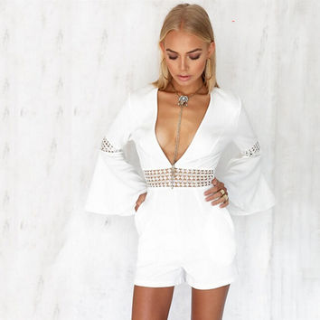 White V-Neck Trumpet Long Sleeve Cut Out Romper
