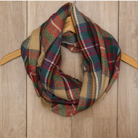 Moxie Plaid Infinity Scarf - Taupe