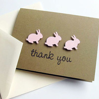 Thank You Cards, Pink Bunny Trio, Set of 8