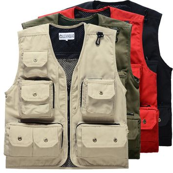 LumiParty Men outdoor Fly Fishing Vests Multi Pocket pesca Vest Outdoor Photography Fly fishing Vest Cotton man jacket