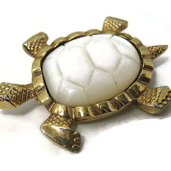 Vintage Mother of Pearl Turtle Brooch Pin Made in Germany White and Gold Tone Retro Mid Century Jewelry