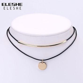 ELESHE Boho Choker Gold Coins Pendant Shell Choker Necklace Women Jewelry Black Velvet Leather Chockers Necklaces Collier Femme