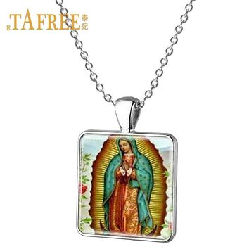 Guadalupe pendant necklace Silver-plated Virgin Mary Religious Catholic
