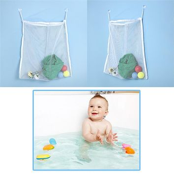 White Kids Bathroom Storage Bag Children Shower Bath Paddle Toy Bath Organizer Bag Bathroom Hang Bags