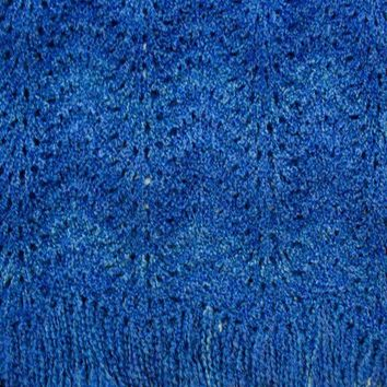 Prayer Shawl Knit Throw Blanket Cobalt Blue by SticksNStonesGifts