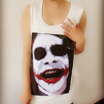 Red Joker Tee Shirt , Crop Top Shirt , Tank T Shirt , Tunic Shirt , Women Sexy Hipster Shirt , Custom Photo Shirt