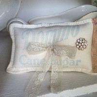 Sugar sack shabby chic ring bearer pillow, rustic wedding, shabby chic wedding