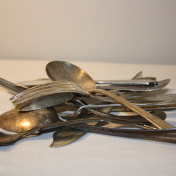 Mixed Lot of Silverplate Flateware, Craft Supply Silverware, Spoon Fork