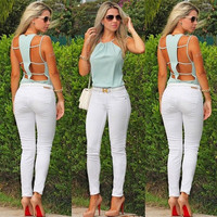 Fashion Sexy Women Summer Sleeveless Camisole Casual Crop Blouse Top Shirt = 5617182657
