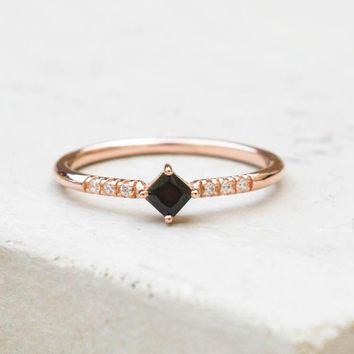 Diamond Shaped Ring - Rose Gold + Black
