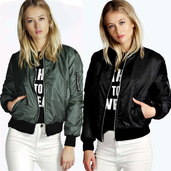 Fashion Solid Color Female Coat Zipper Collar Jacket
