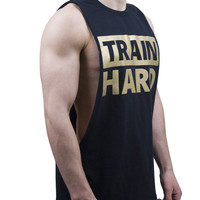 Train Hard Cut Off T Shirt - Black