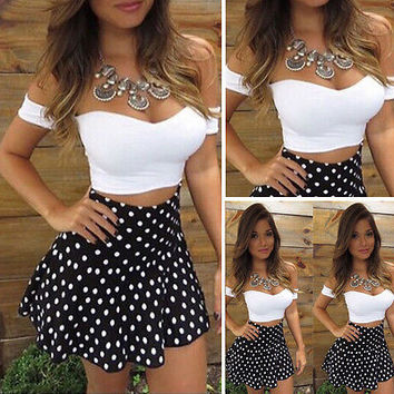 2 Piece Sets Women short Sleeve Crop Top + Mini Dot Skirt Set High Waist Bodycon Sexy
