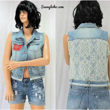 Upcycled denim vest / top / size S / M / boho jean lace vest / country western denim sleeveless jacket / SunnyBohoVintage