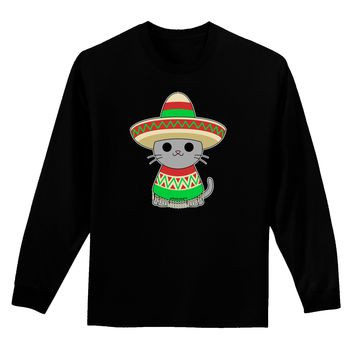 Cat with Sombrero and Poncho Adult Long Sleeve Dark T-Shirt by TooLoud