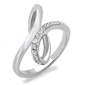 Forever and Always - Elegant Soft Polish Looping Stainless Steel White Austrian Crystals Infinity Knot Ring