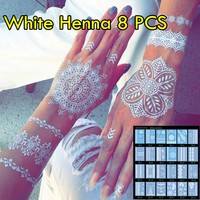 8pcs/lot White Henna Tattoo Temporary Henna Tattoo Luxuriant Sexy Jewelry & Body Tattoo! Unique Designs Wedding Henna