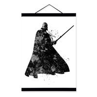 Original Watercolor Black White Star Wars Darth Vader Pop Movie Art Print Poster Wall Picture Canvas Painting No Frame Home Deco