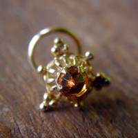 10mm 18K Solid Yellow Gold Nose Stud Triangle Yellow Citrine