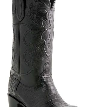 "Lucchese Since 1883 Mens Western with ""Milano"" Cord Design Black Belly Crocodile M1636"