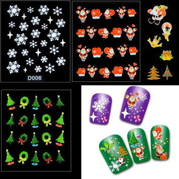 12 Sheet Christmas Snowflake Tree 3D Nail Art Sticker Decal Tips Decoration  D_L = 1946027396