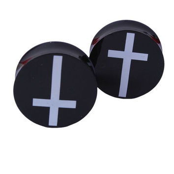 Acrylic Ear Plugs Tunnels Earring Gauges White Cross Hollow Double Flare Ear Tunnels Expanders Plugs Piercing Ring Jewelry