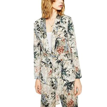 Autumn 2016 Women Blazer Jacket Fashion Floral Printed Office Lady Sashes Pockets Female Long Sleeve Cozy Casual Brand Tops