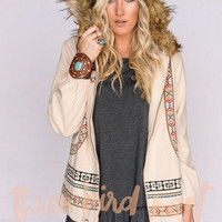 Embroidered Jacket With Fur Trim In Beige