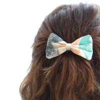 Medium Hand-printed fabric Hair Bow Barrette, Turquoise, Peach and Dark blue grey, for women and girls.