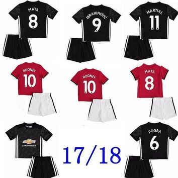 17 18 Man Utd POGBA Soccer Jersey United 2017 2018 ibrahimovic Rooney Rashford MATA Mkhitaryan kids Home away 3RD football shirts kids kits