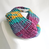 Colorful infinity scarf, knit cowl