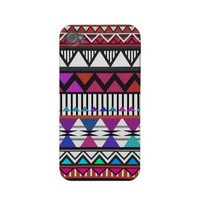 Red & Pink Tribal Pattern iPhone 4/4S Case-Mate from Zazzle.com