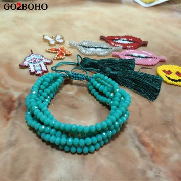 Go2boho Dropshipping 6 Wrap Bracelet Green Faceted Crystal Bracelets Tassel Pulseira Gold Charm Women Jewelry Gift Handmade Bead