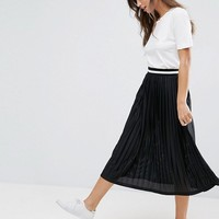 ASOS Perforated Pleated Midi Skirt with Sports Tipped Waistband at asos.com