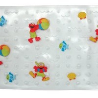 Sesame Street Elmo Splish Splash Bath Mat - Non-Slip Construction - Easy to Clean - 100% BPA, Latex, Phthalate, and Lead Free - Safe and Comfortable - Clear