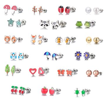21 Pairs Stainless Steel Mixed Color Cute Fox Heart Star Ladybug Stud Earrings Set