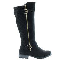 Mango23 Black By Forever, calf high biker boots quilted panel stack heel threaded lug sole